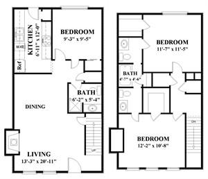 1,350 sq. ft. I1 floor plan