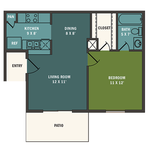 539 sq. ft. A1 floor plan