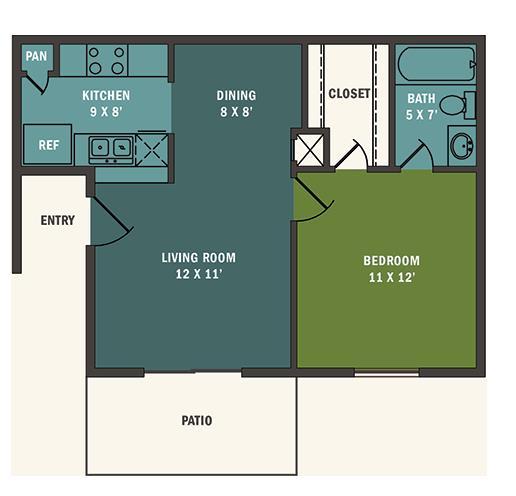 539 sq. ft. A1 floor plan