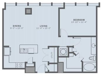 935 sq. ft. A4 floor plan
