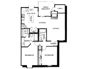 1,057 sq. ft. B3 floor plan