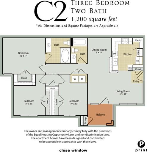 1,200 sq. ft. C2/60% floor plan
