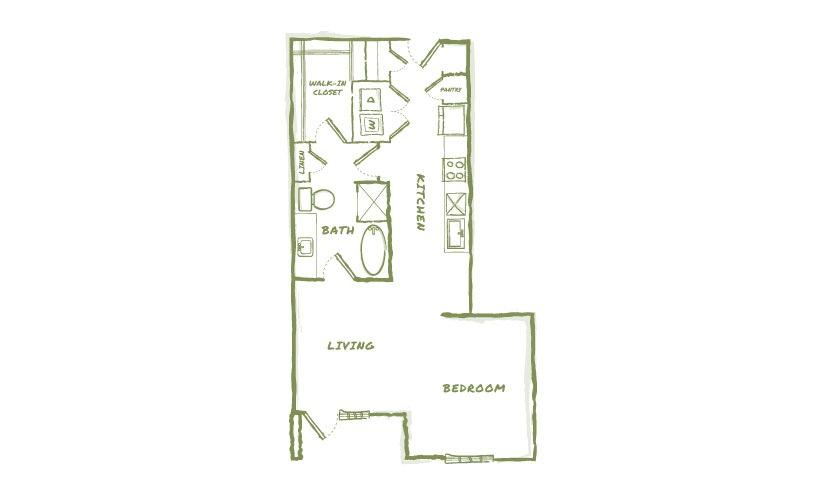 776 sq. ft. E5 floor plan