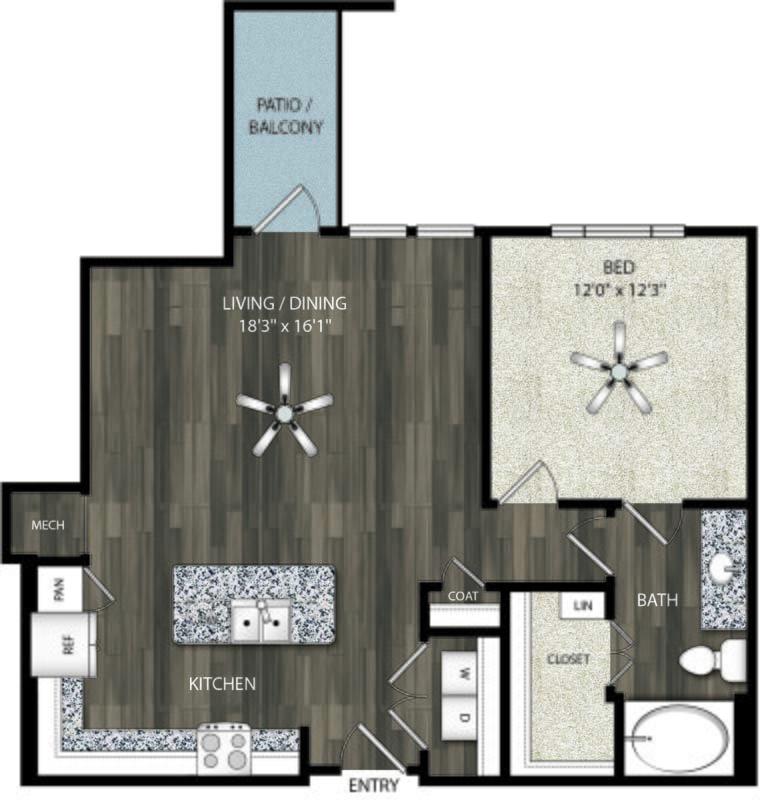 806 sq. ft. A9 floor plan