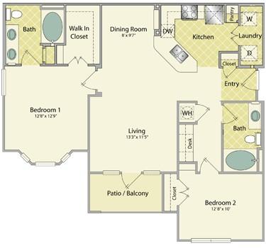 1,147 sq. ft. Augusta floor plan