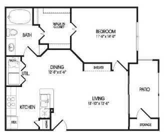 725 sq. ft. Crystal floor plan
