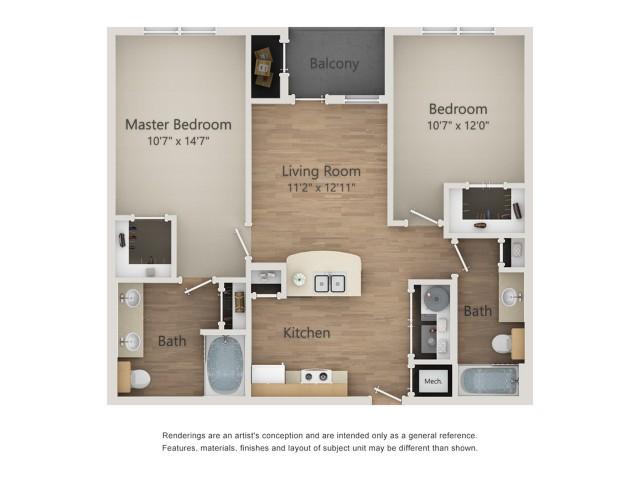942 sq. ft. B1A/60% floor plan