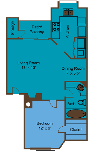 569 sq. ft. to 574 sq. ft. A1/A2 floor plan