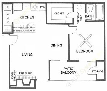 650 sq. ft. A2 floor plan