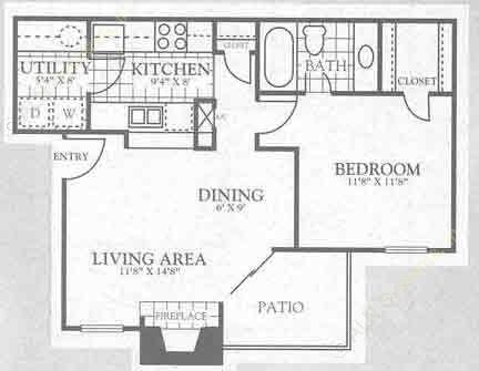 660 sq. ft. 1A1 floor plan