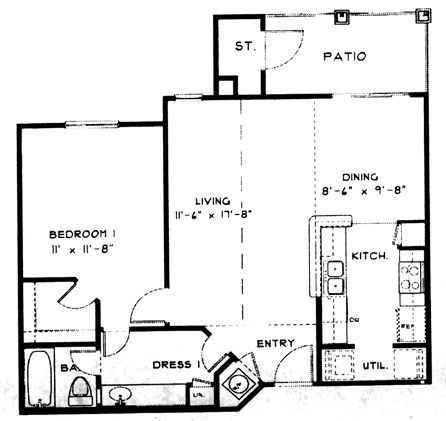 710 sq. ft. A3 floor plan