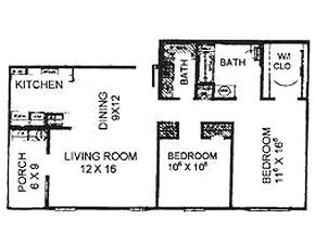 1,036 sq. ft. 60% floor plan