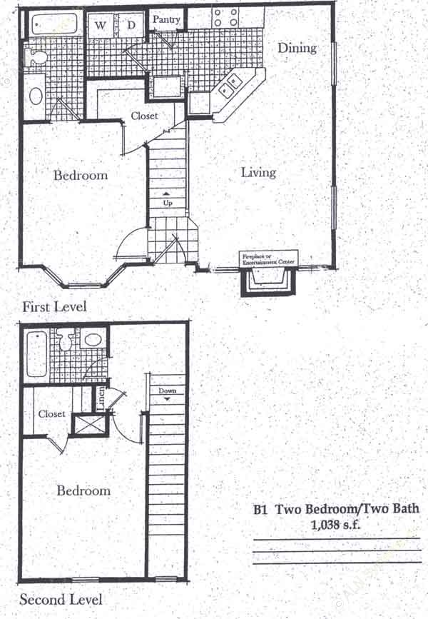 1,038 sq. ft. B1/50 floor plan