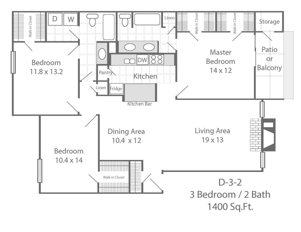1,400 sq. ft. D3 floor plan