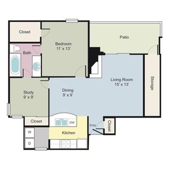 863 sq. ft. A1GR floor plan
