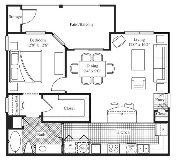 856 sq. ft. Mondavi floor plan
