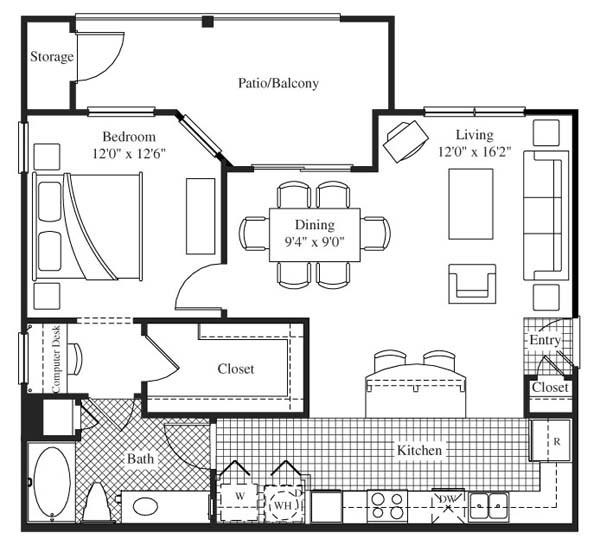 856 sq. ft. Mondavi floor plan