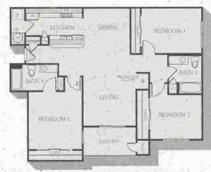 1,385 sq. ft. Barrington floor plan