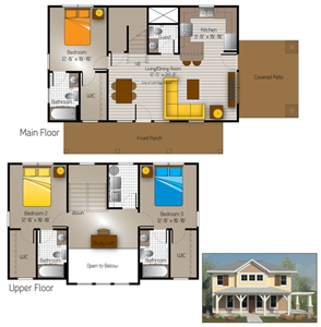 1,483 sq. ft. Sisterdale(Cottage) floor plan