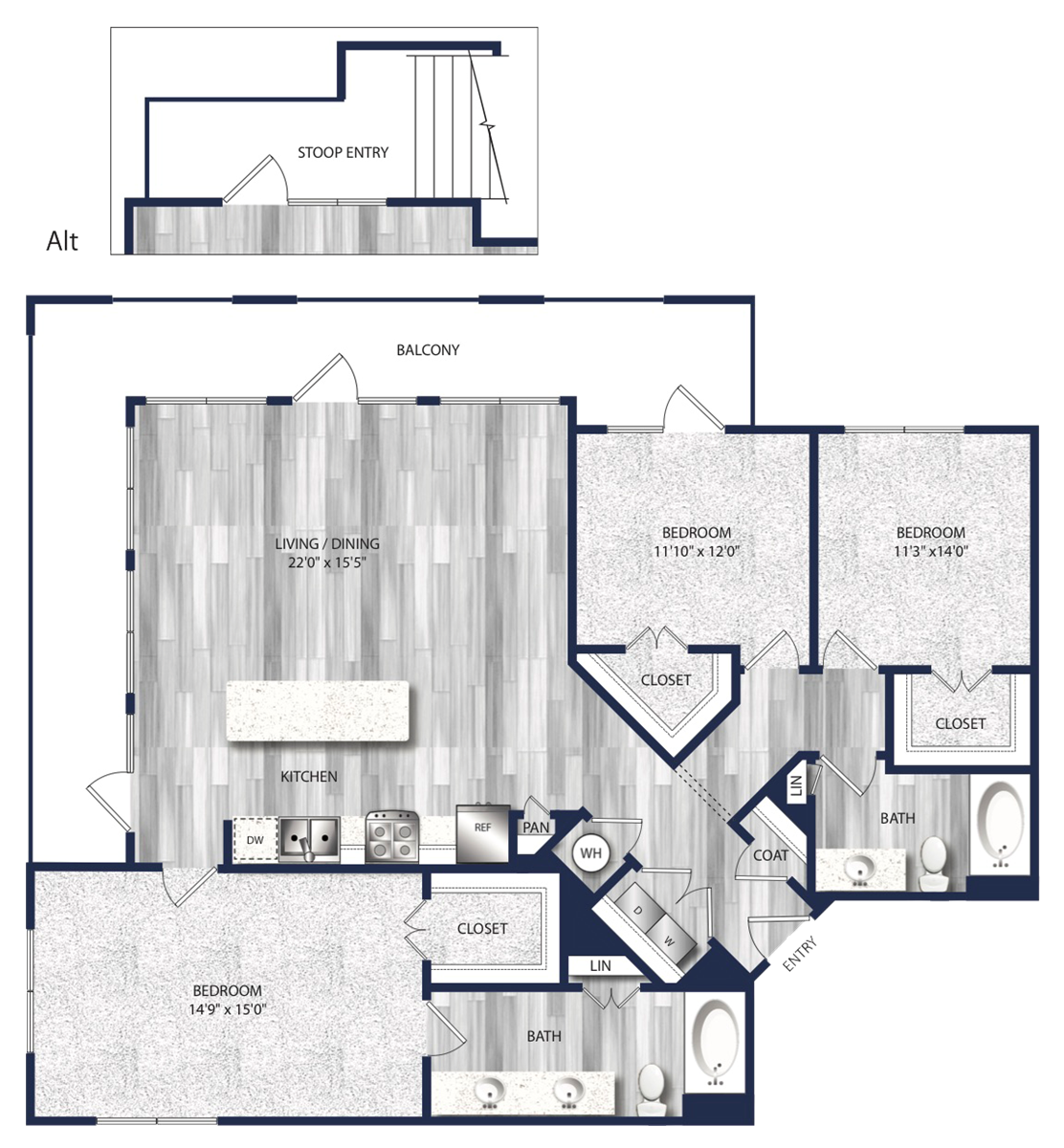 1,450 sq. ft. to 1,517 sq. ft. C1 floor plan
