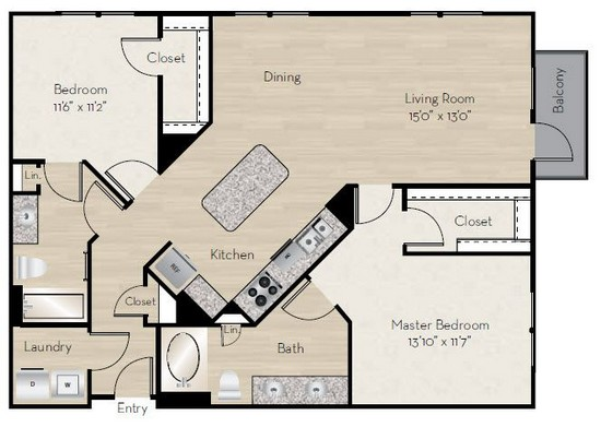 1,289 sq. ft. B4 floor plan