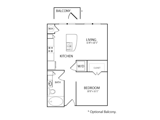 591 sq. ft. S1A floor plan