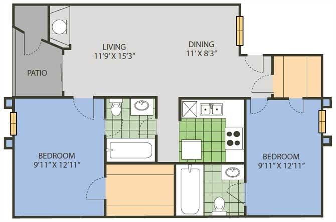 959 sq. ft. Wimbledon floor plan