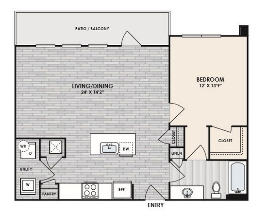 844 sq. ft. to 883 sq. ft. A4 floor plan
