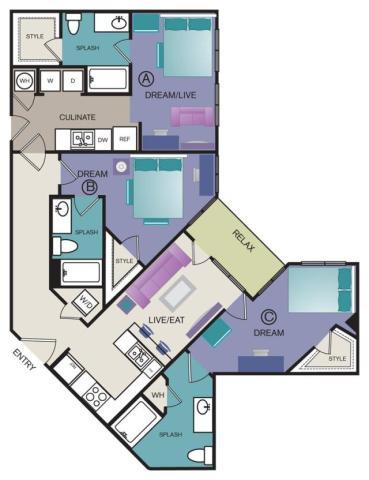 1,279 sq. ft. C1 floor plan