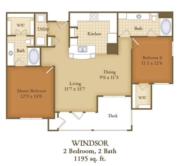 1,195 sq. ft. B1 floor plan