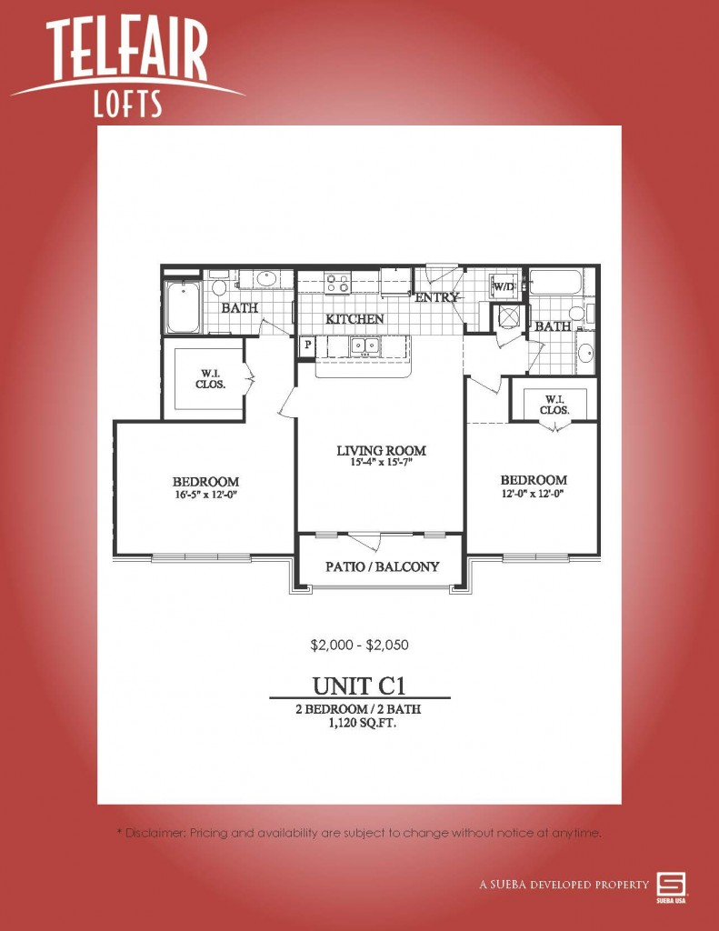 1,120 sq. ft. C1 floor plan
