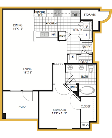 809 sq. ft. Syracuse floor plan