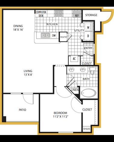 809 sq. ft. Syracuse floor plan