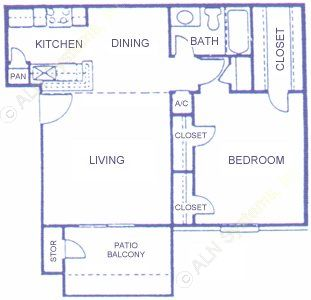 703 sq. ft. B floor plan