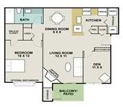 844 sq. ft. Appaloosa floor plan