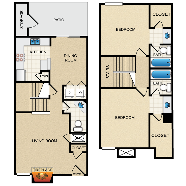 1,206 sq. ft. F floor plan