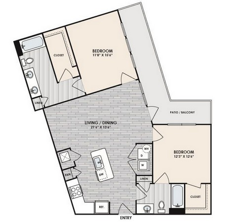1,108 sq. ft. to 1,110 sq. ft. B7 floor plan