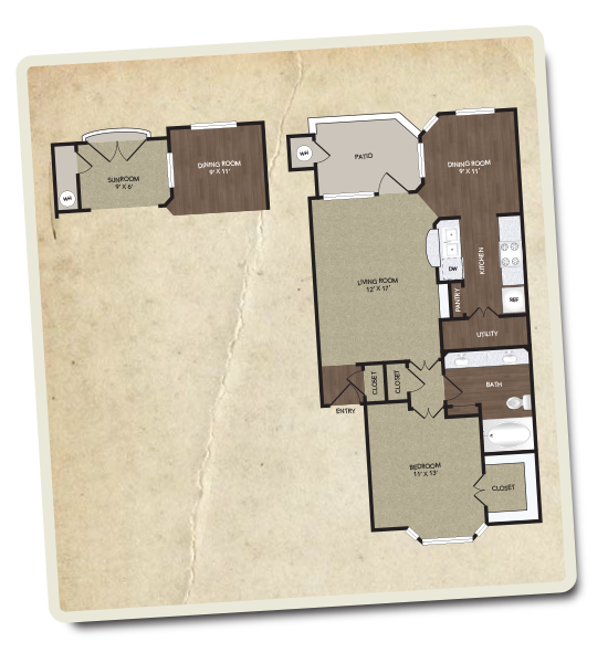 855 sq. ft. Henderson floor plan