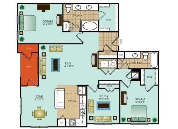 1,463 sq. ft. C1 floor plan