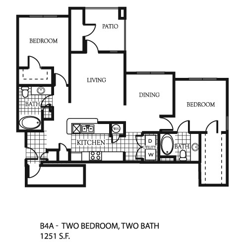 1,251 sq. ft. B4 floor plan