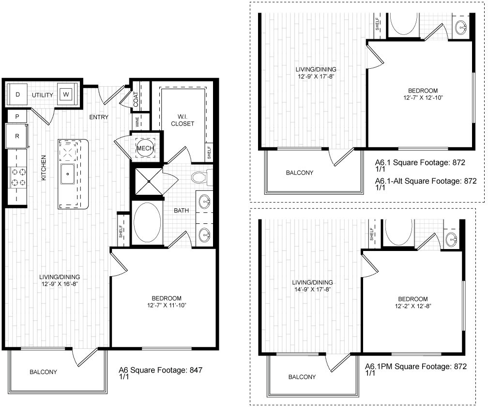 847 sq. ft. A6 floor plan