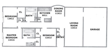 1,524 sq. ft. Willow floor plan