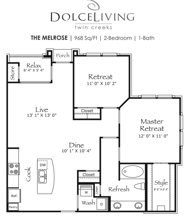 968 sq. ft. A7-Melrose II floor plan