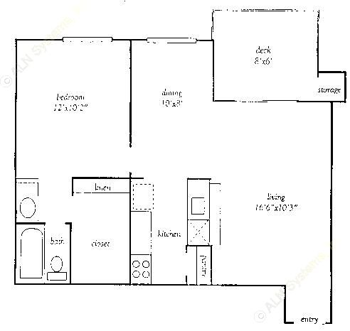 652 sq. ft. A floor plan