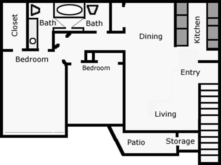 920 sq. ft. Easter Lily floor plan