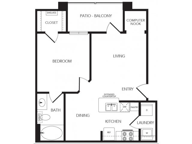 670 sq. ft. Enclave floor plan