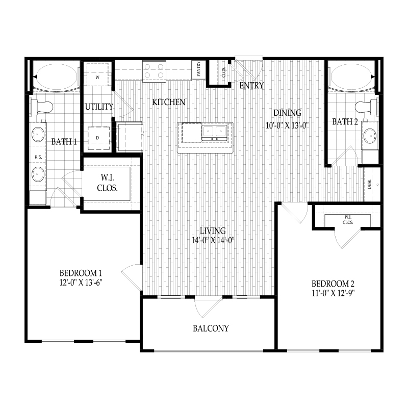 1,111 sq. ft. C1 Valmien floor plan