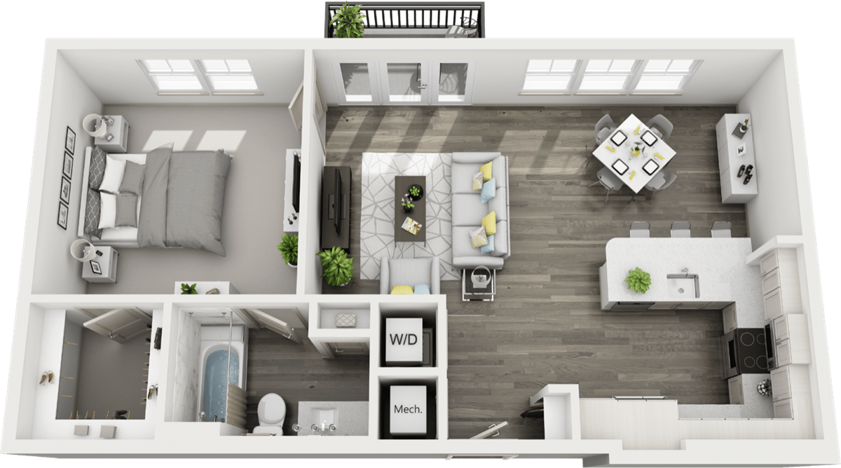 828 sq. ft. to 880 sq. ft. A4 floor plan