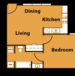 528 sq. ft. A1 floor plan