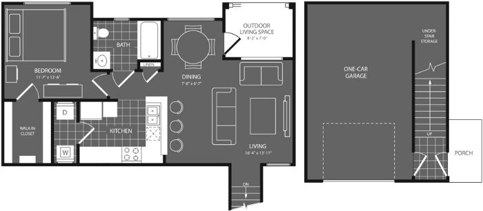 675 sq. ft. Linden floor plan